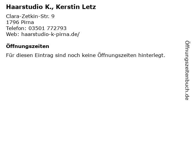 Haarstudio K., Kerstin Letz in Pirna: Adresse und Öffnungszeiten