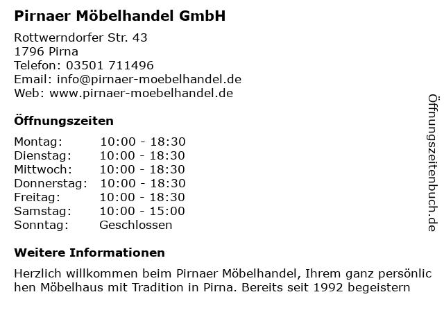 Pirnaer Möbelhandel GmbH in Pirna: Adresse und Öffnungszeiten