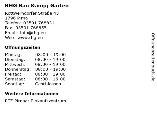 RHG Bau & Garten in Pirna: Adresse und Öffnungszeiten