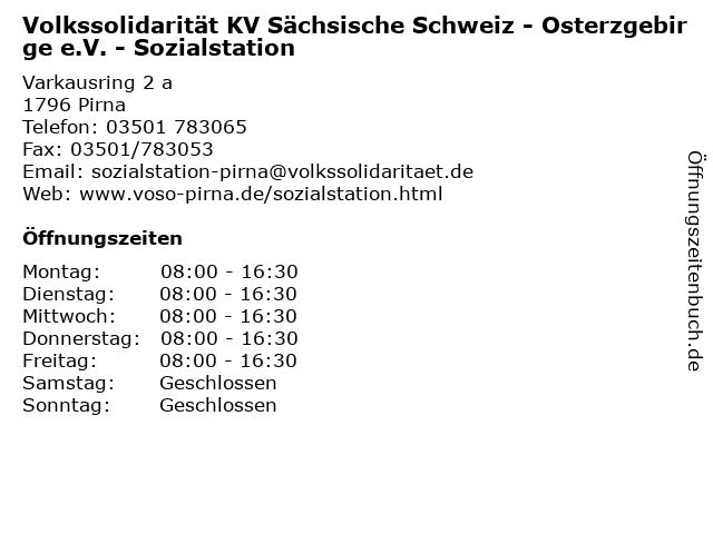 Volkssolidarität KV Sächsische Schweiz - Osterzgebirge e.V. - Sozialstation in Pirna: Adresse und Öffnungszeiten