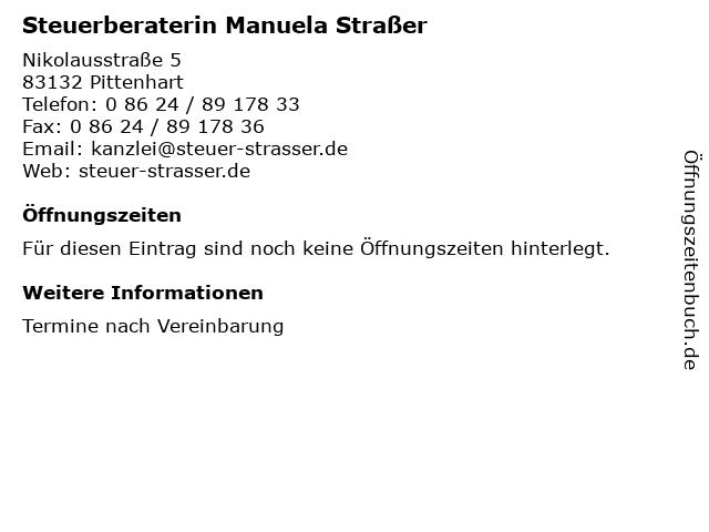 Steuerberaterin Manuela Straßer in Pittenhart: Adresse und Öffnungszeiten