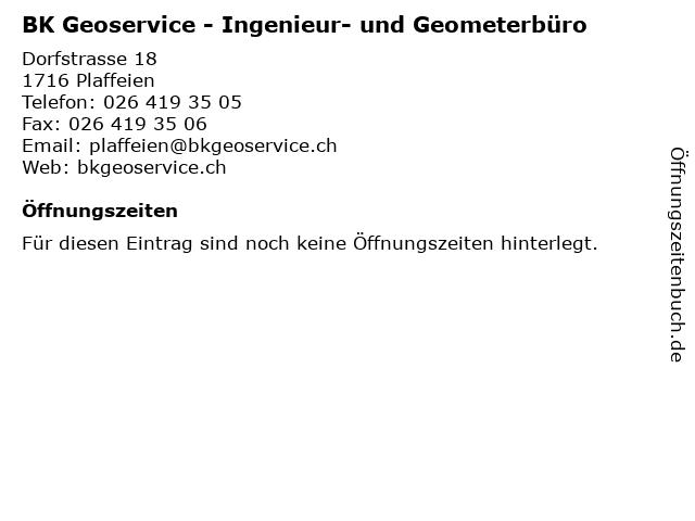 BK Geoservice - Ingenieur- und Geometerbüro in Plaffeien: Adresse und Öffnungszeiten