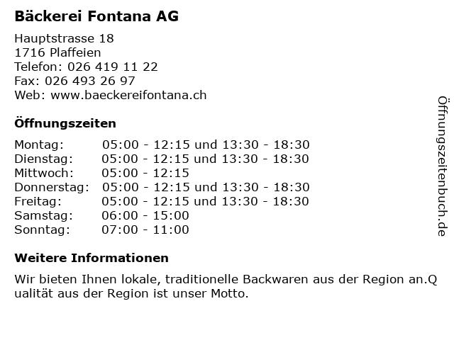 Bäckerei Fontana AG in Plaffeien: Adresse und Öffnungszeiten