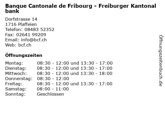 Banque Cantonale de Fribourg - Freiburger Kantonalbank in Plaffeien: Adresse und Öffnungszeiten