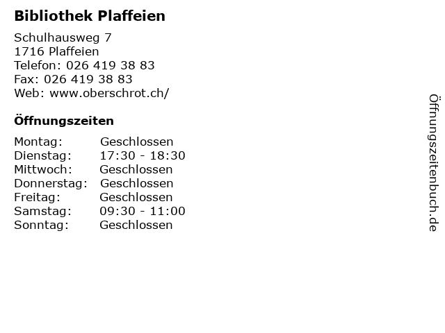 Bibliothek Plaffeien in Plaffeien: Adresse und Öffnungszeiten