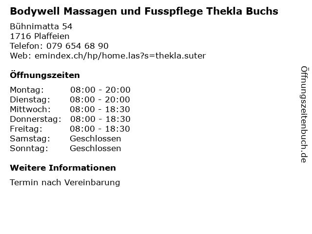 Bodywell Massagen und Fusspflege Thekla Buchs in Plaffeien: Adresse und Öffnungszeiten