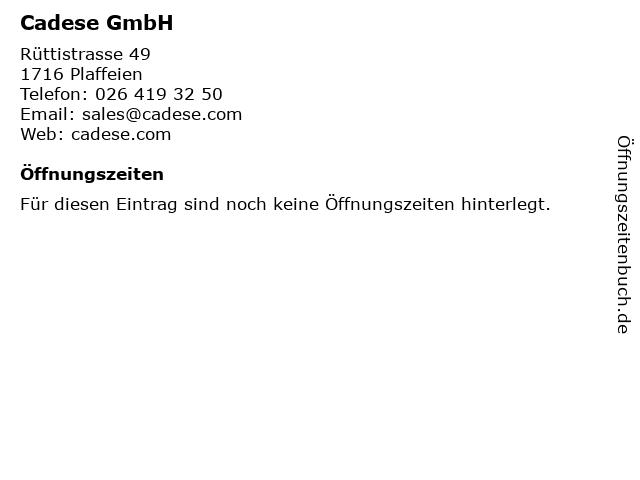 Cadese GmbH in Plaffeien: Adresse und Öffnungszeiten