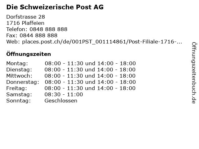 Die Schweizerische Post AG - Filiale Plaffeien in Plaffeien: Adresse und Öffnungszeiten