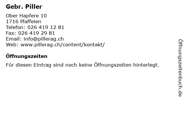 Gebr. Piller in Plaffeien: Adresse und Öffnungszeiten