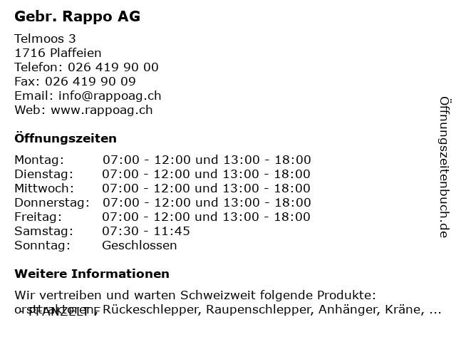 Gebr. Rappo AG in Plaffeien: Adresse und Öffnungszeiten