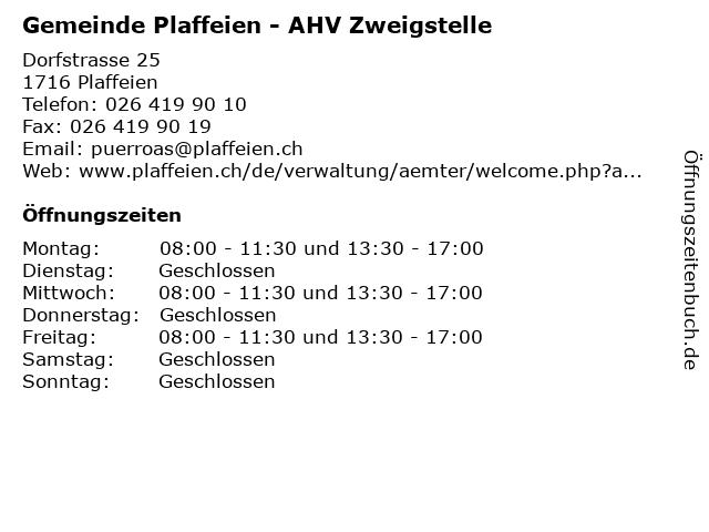 Gemeinde Plaffeien - AHV Zweigstelle in Plaffeien: Adresse und Öffnungszeiten