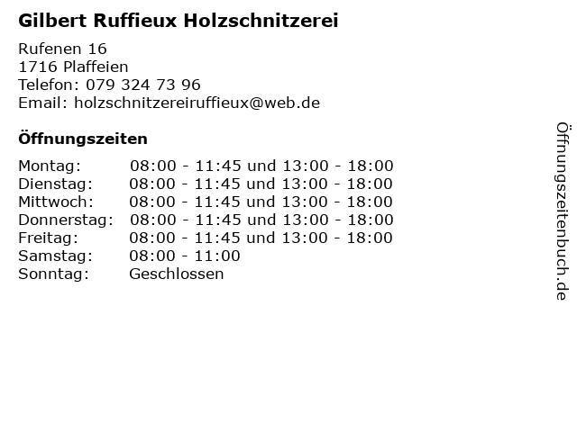 Gilbert Ruffieux Holzschnitzerei in Plaffeien: Adresse und Öffnungszeiten