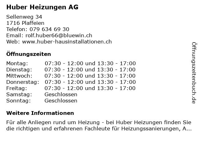 Huber Heizungen AG in Plaffeien: Adresse und Öffnungszeiten
