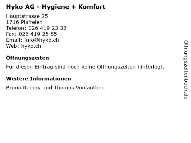 Hyko AG - Hygiene + Komfort in Plaffeien: Adresse und Öffnungszeiten