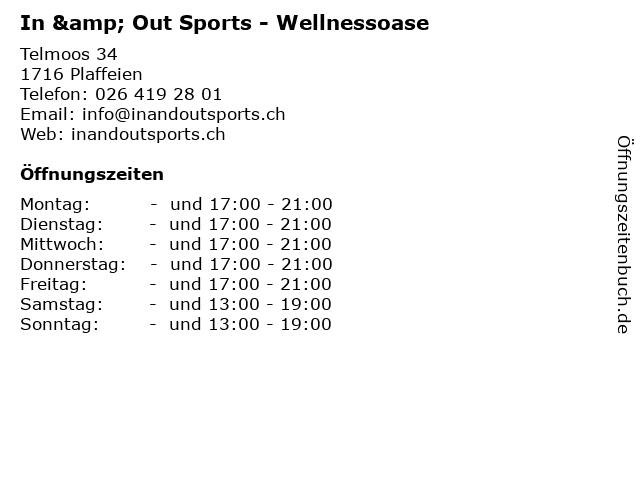 In & Out Sports - Wellnessoase in Plaffeien: Adresse und Öffnungszeiten