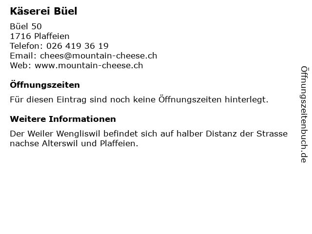 Käserei Büel in Plaffeien: Adresse und Öffnungszeiten