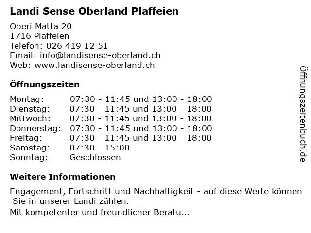 Landi Sense Oberland Plaffeien in Plaffeien: Adresse und Öffnungszeiten