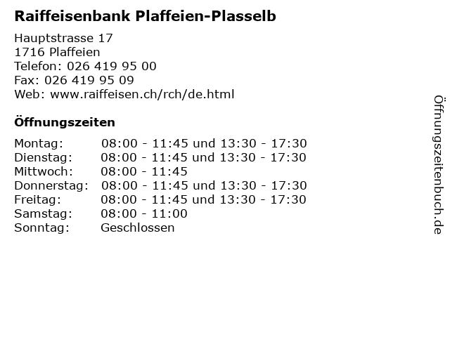 Raiffeisenbank Plaffeien-Plasselb in Plaffeien: Adresse und Öffnungszeiten