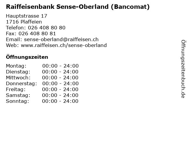 Raiffeisenbank Sense-Oberland (Bancomat) in Plaffeien: Adresse und Öffnungszeiten