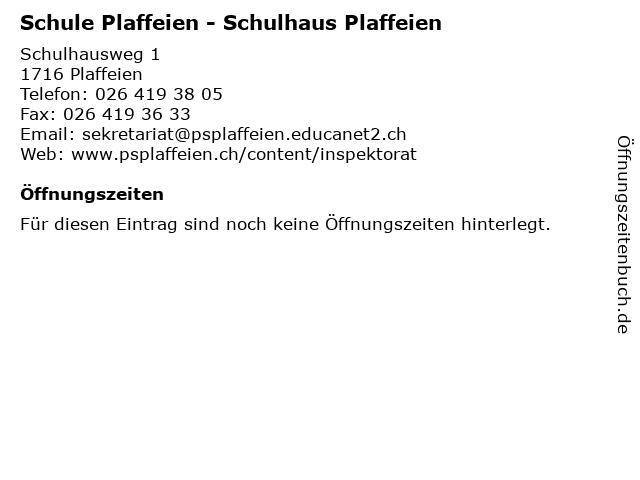 Schule Plaffeien - Schulhaus Plaffeien in Plaffeien: Adresse und Öffnungszeiten