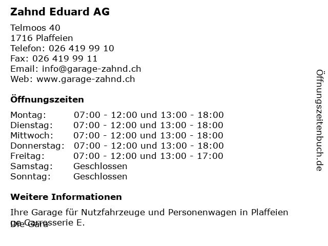 Zahnd Eduard AG in Plaffeien: Adresse und Öffnungszeiten
