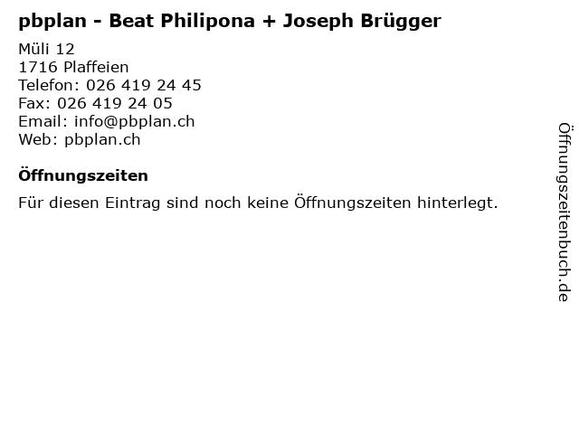 pbplan - Beat Philipona + Joseph Brügger in Plaffeien: Adresse und Öffnungszeiten