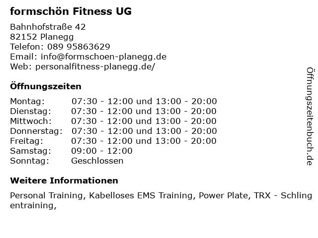 formschön Personal Vibrationstraining in Planegg: Adresse und Öffnungszeiten