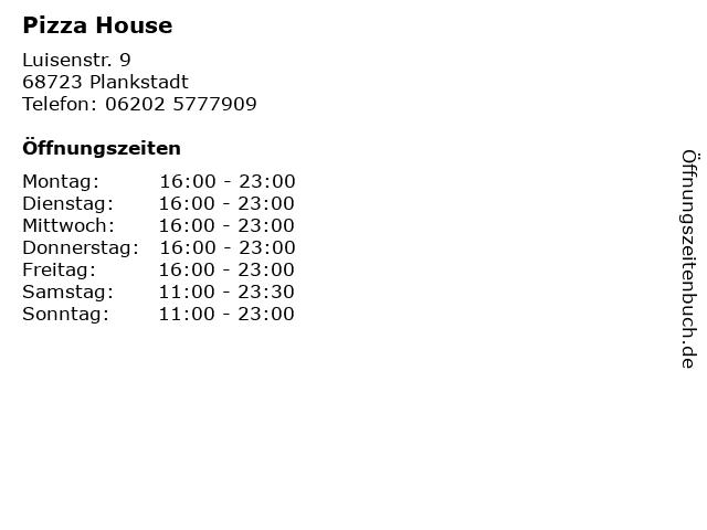 Pizza House in Plankstadt: Adresse und Öffnungszeiten