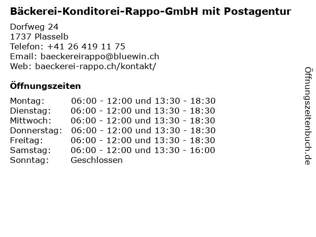 Bäckerei-Konditorei-Rappo-GmbH mit Postagentur in Plasselb: Adresse und Öffnungszeiten