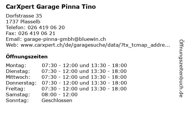 CarXpert Garage Pinna Tino in Plasselb: Adresse und Öffnungszeiten