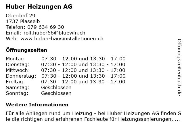 Huber Heizungen AG in Plasselb: Adresse und Öffnungszeiten