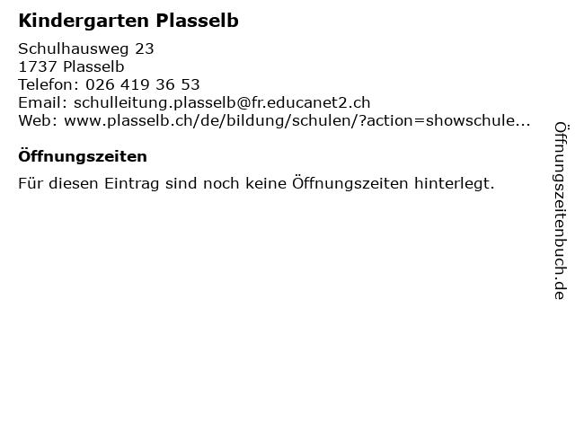 Kindergarten Plasselb in Plasselb: Adresse und Öffnungszeiten