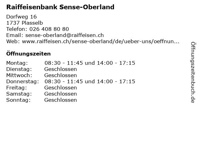 Raiffeisenbank Plaffeien-Plasselb in Plasselb: Adresse und Öffnungszeiten