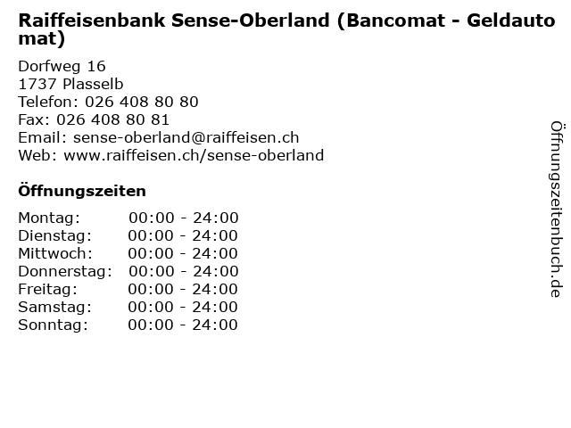 Raiffeisenbank Sense-Oberland (Bancomat - Geldautomat) in Plasselb: Adresse und Öffnungszeiten