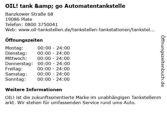 OIL! Tank & Go in Plate: Adresse und Öffnungszeiten