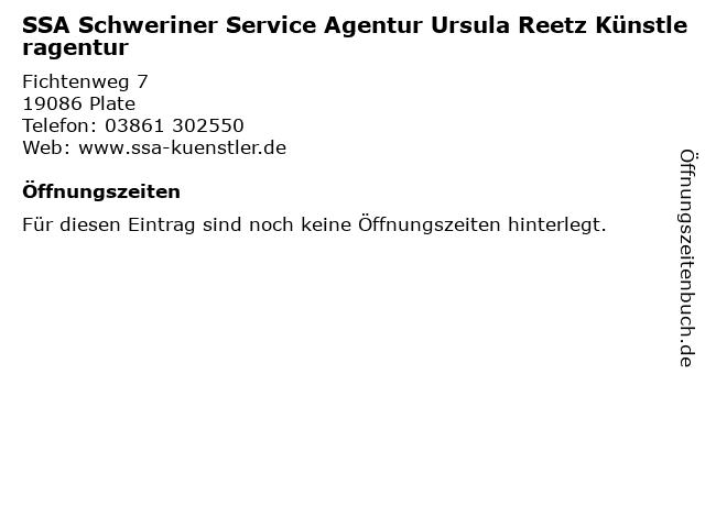 SSA Schweriner Service Agentur Ursula Reetz Künstleragentur in Plate: Adresse und Öffnungszeiten