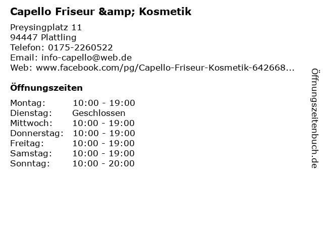 Capello Friseur & Kosmetik in Plattling: Adresse und Öffnungszeiten