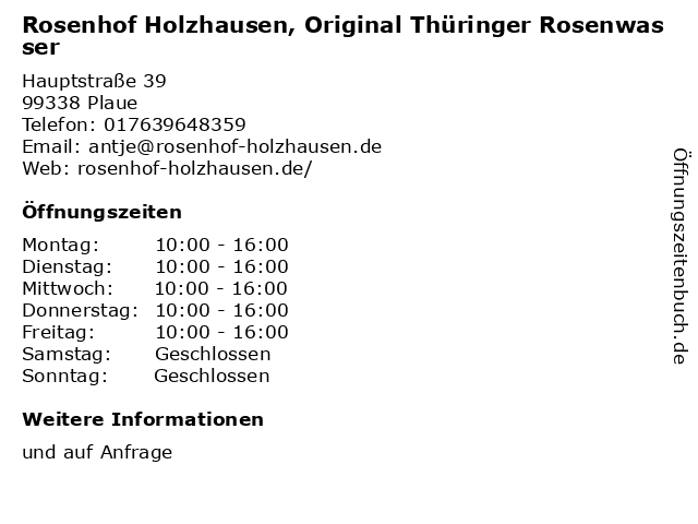 Rosenhof Holzhausen, Original Thüringer Rosenwasser in Plaue: Adresse und Öffnungszeiten