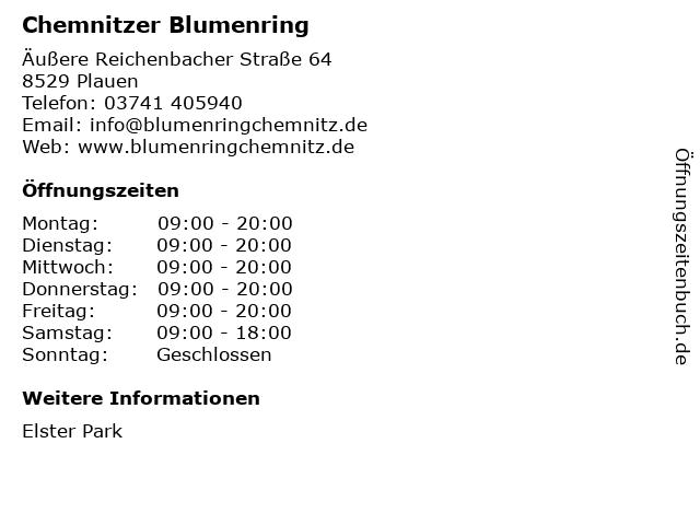 Chemnitzer Blumenring in Plauen: Adresse und Öffnungszeiten