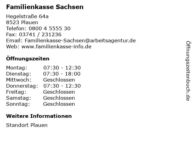 Familienkasse Sachsen in Plauen: Adresse und Öffnungszeiten
