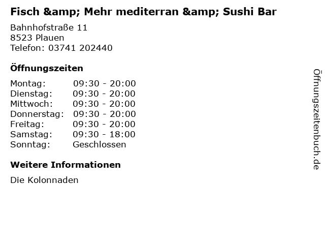 Fisch & Mehr mediterran & Sushi Bar in Plauen: Adresse und Öffnungszeiten