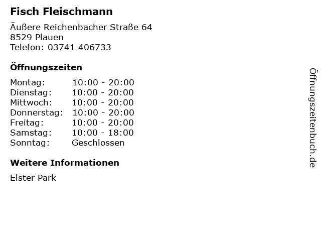 Fisch Fleischmann in Plauen: Adresse und Öffnungszeiten