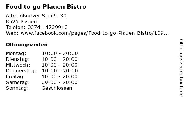 Food to go Plauen Bistro in Plauen: Adresse und Öffnungszeiten