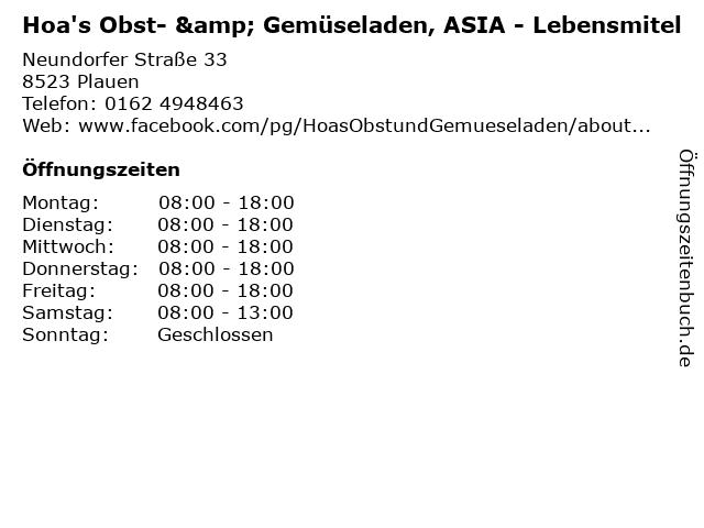 Hoa's Obst- & Gemüseladen, ASIA - Lebensmitel in Plauen: Adresse und Öffnungszeiten