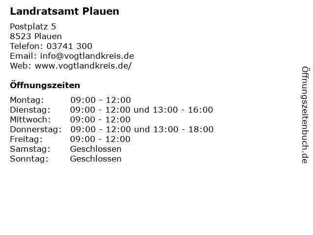 Landratsamt Plauen in Plauen: Adresse und Öffnungszeiten