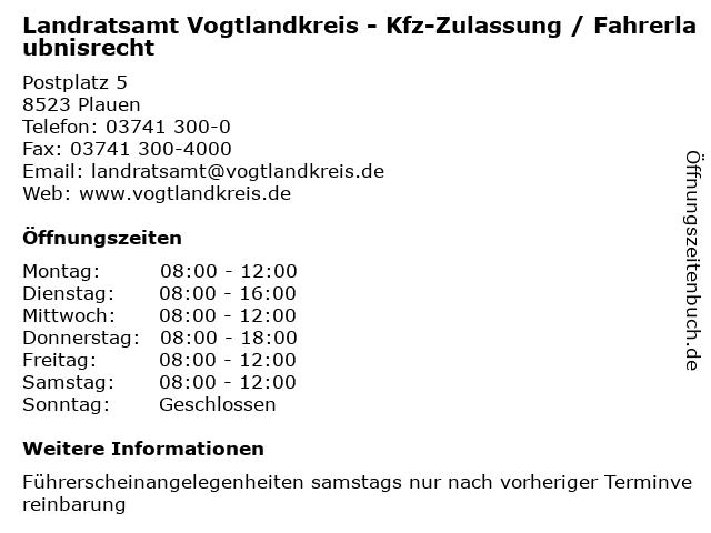 Landratsamt Vogtlandkreis - Kfz-Zulassung / Fahrerlaubnisrecht in Plauen: Adresse und Öffnungszeiten