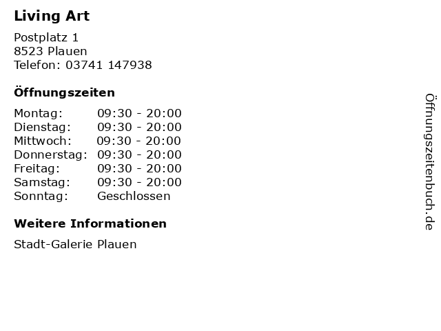 Living Art in Plauen: Adresse und Öffnungszeiten