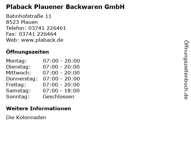 Plaback Plauener Backwaren GmbH in Plauen: Adresse und Öffnungszeiten