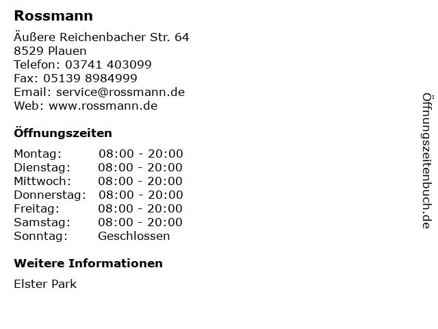 Dirk Rossmann GmbH in Plauen: Adresse und Öffnungszeiten