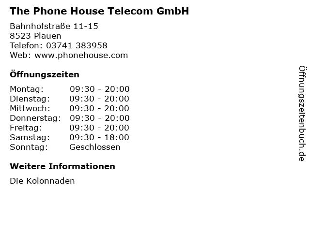 The Phone House Telecom GmbH in Plauen: Adresse und Öffnungszeiten